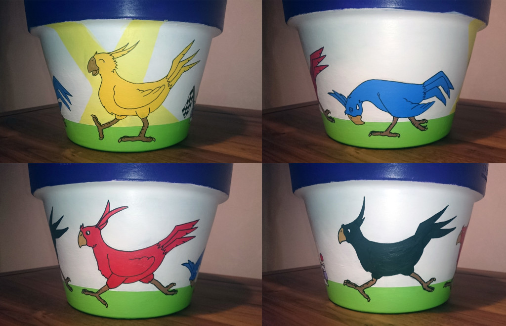 Chocobo racing decorated flower pot