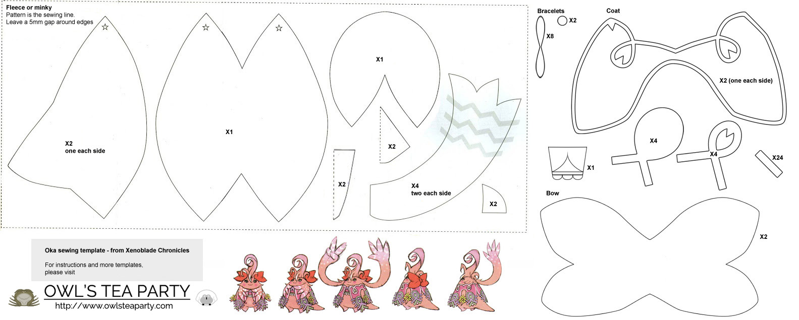 Oka plushie sewing template – Owl\'s Tea Party