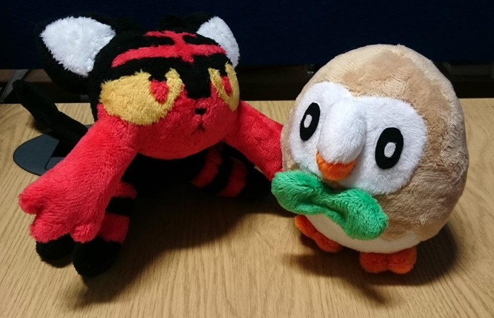 litten and rowlet plushes