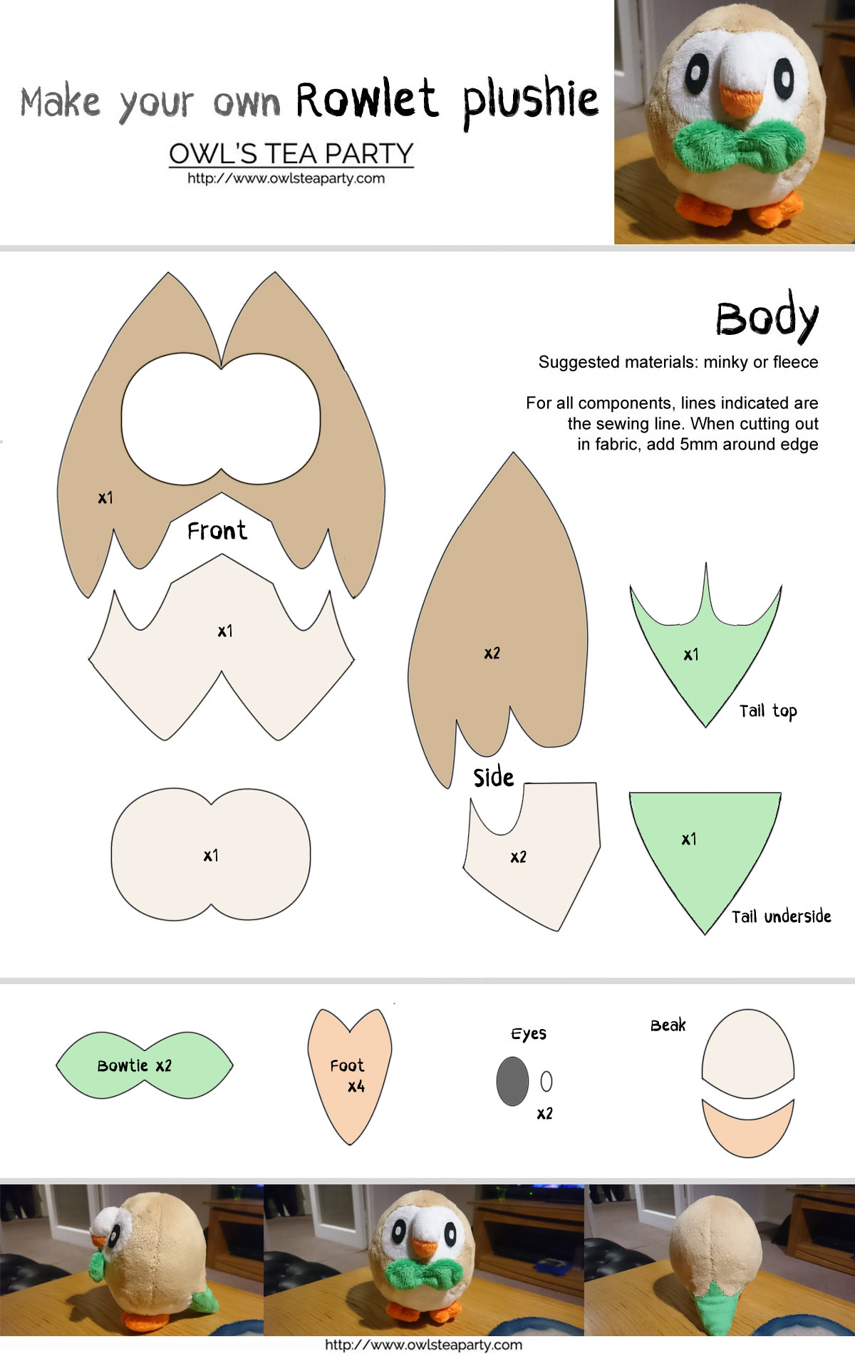 Free Rowlet sewing template
